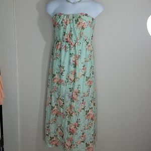 Dress Crochet Lace maxi strapless floral tube